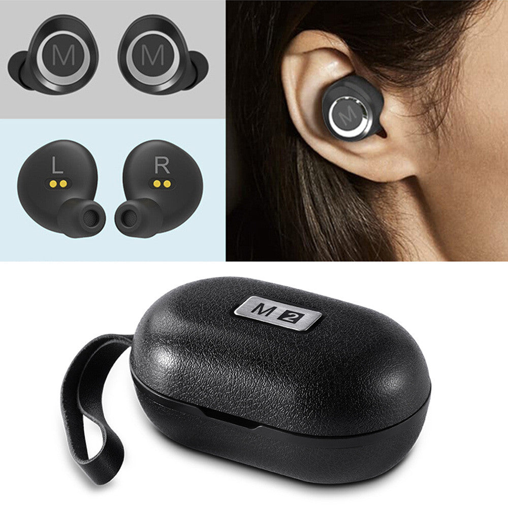 M2 TWS True Wireless Bluetooth 4.2 Headphones In-ear Stereo Music Headsets Invisible Earphone Hands-free w/ Microphone Charging Box
