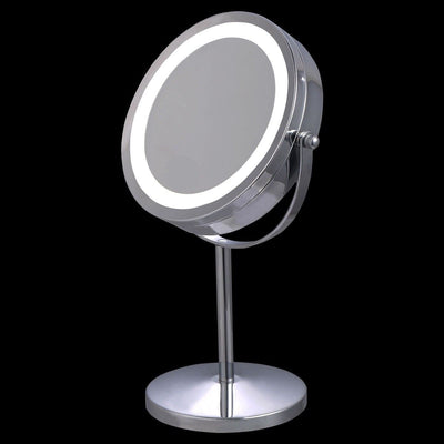 Costway 7'' Double-Sided Makeup Mirror 18 LED Lights 3x Magnification Vanity Beauty