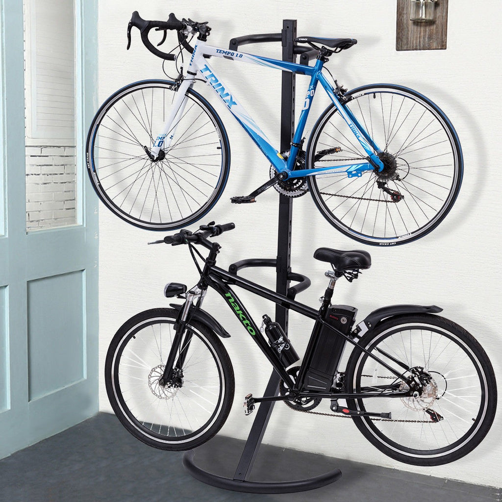 Costway Freestanding Gravity Bike Stand Two Bicycles Rack For Storage or Display