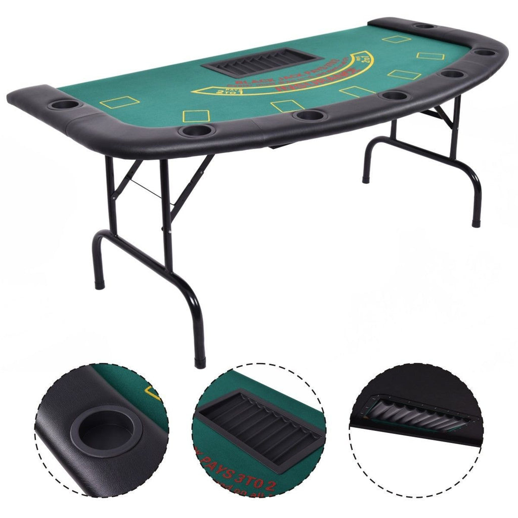 Costway  Folded 7 Player Pocker Blackjack Table Texas Holdem Car Game W/ Chip&Cup Holder