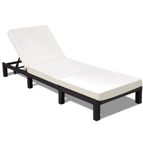 Patio Adjustable Wicker Chaise Lounge Furniture with Cushion