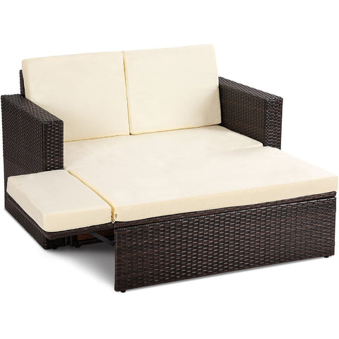 2 pcs Patio Rattan Sofa Ottoman Daybed Garden Furniture Set