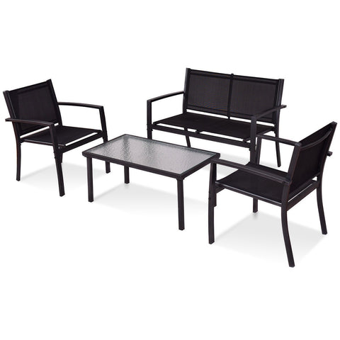 4 pcs Patio Steel Frame Coffee Table Furniture Set