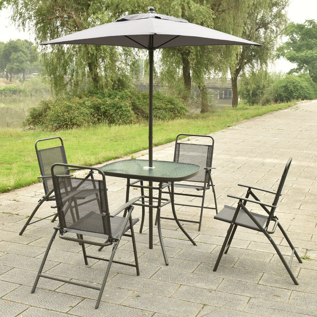 6 pcs Patio Folding Furniture Set with an Umbrella