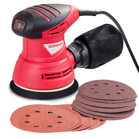 "5"" Palm Random Orbit Sander with Dust Collector and Sandpapers"