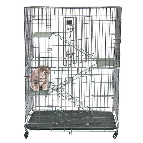 Large Folding Collapsible Pet Cat Wire Cage Indoor Outdoor Playpen Vacation Size L Silver