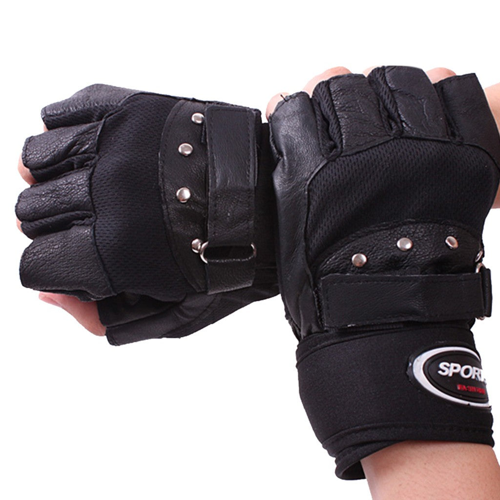 Men's Winter Leather Gloves Thick Warm Fleece Windproof Gloves Cold Proof Therma
