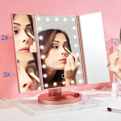 36 LED Nature Daylight Tri-Fold Lighted Vanity Makeup Mirror with Touch Screen Dimming and 3X/2X/1X Magnification Mirror, 180 Degree free Rotation, Countertop Cosmetic Mirror (Rose Gold)