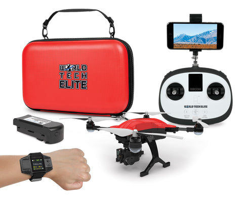 World Tech Elite Recon  Follow Me Drone Smart Watch 4K Camera 2.4GHz 4.5CH RC Quadcopter