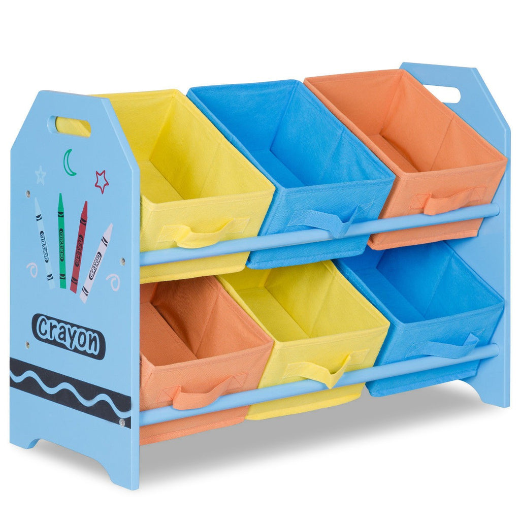 Kid's Multi-Color Toy Storage Organizer with 6 Bins