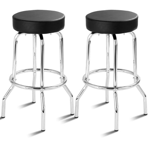 Set of 2 Bar Stools Round Seat Backless Furniture