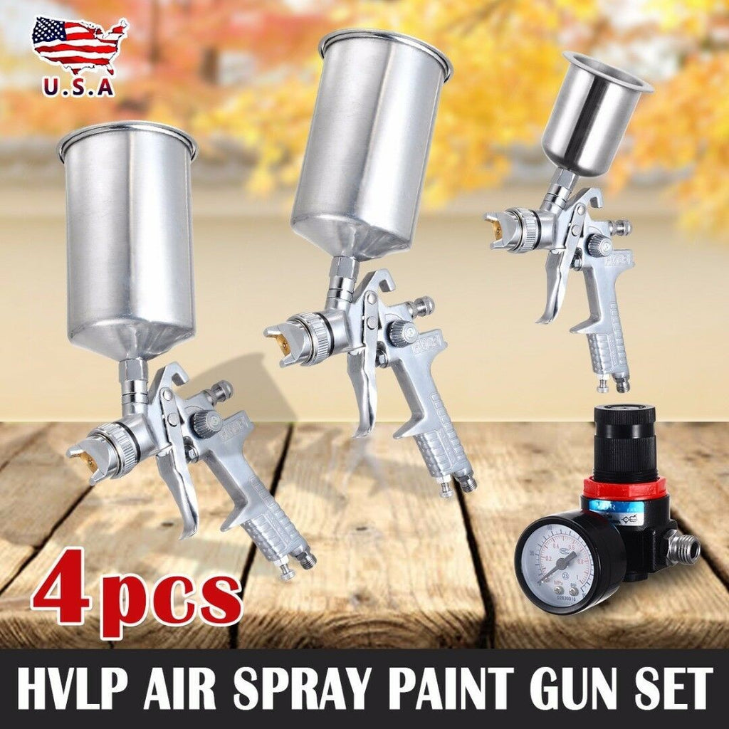 <SHIP FROM US>4Pcs Spray Tool Kit HVLP Gravity Feed 3 Tool Air Gauge 0.8mm 1.4mm 1.7mm