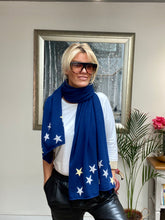 Load image into Gallery viewer, Pure Cashmere Large Star Scarf in Navy Blue