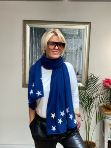 Pure Cashmere Large Star Scarf in Navy Blue