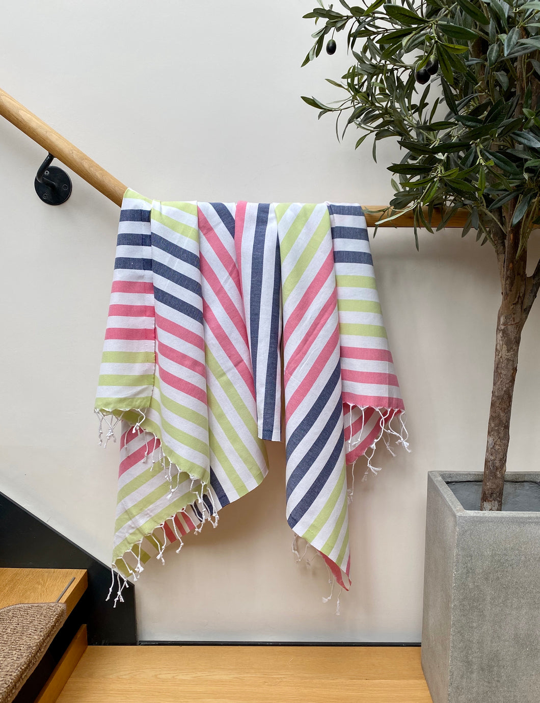 Pure Cotton Single Hammam Towel Pretty Stripes