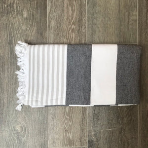 Pure Cotton Hammam Towel with Terry Lining in Charcoal Grey