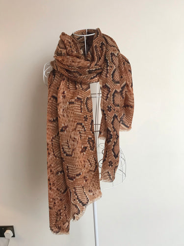 Pure Cashmere Lightweight Snake Skin Print Scarf In Brown