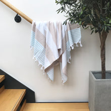 Load image into Gallery viewer, Pure Cotton Hammam Towel with Terry Lining in Beige & Mint Green