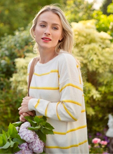 Serena Cashmere Blend Jumper in Ivory/ Yellow/ Mustard