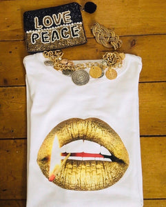Gold Matchstick Lips Tee Shirt