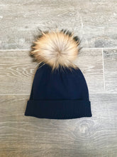 Load image into Gallery viewer, 100% Pure Cashmere Hat with Natural Pom Pom in Navy Blue