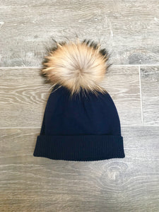 100% Pure Cashmere Hat with Natural Pom Pom in Navy Blue