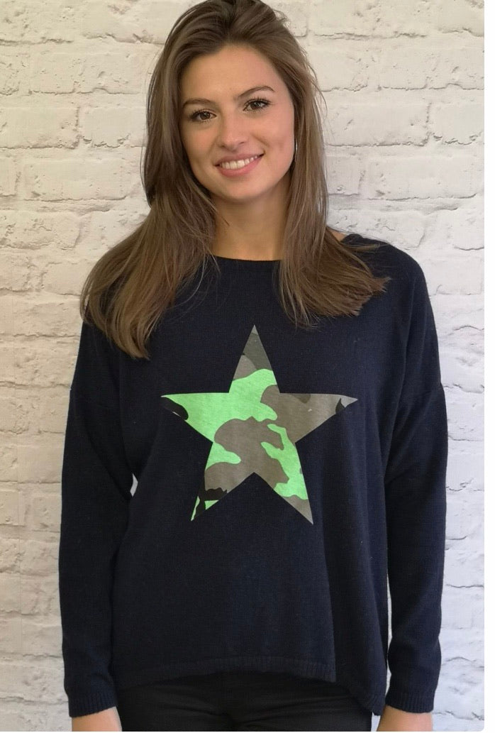 Lucille Star Cashmere Blend Jumper Navy/ Camo Lime