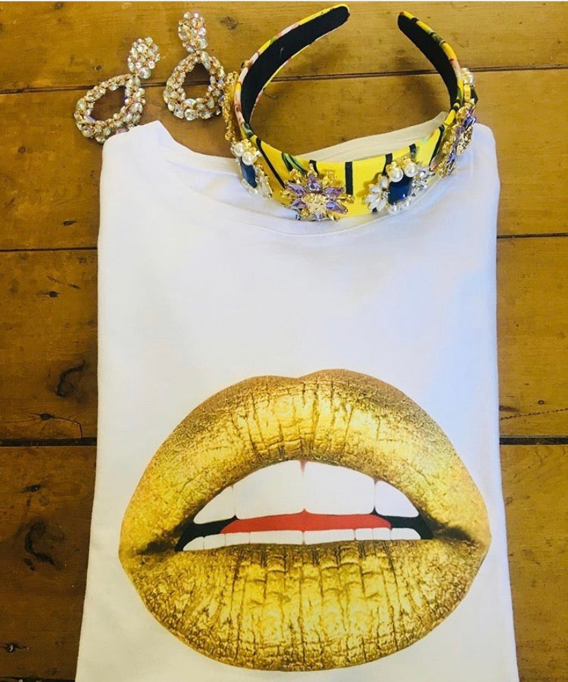 Gold Lips Tee Shirt