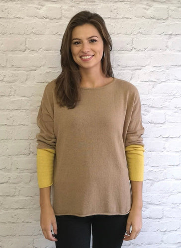 Gina Block Colour Cashmere Blend Jumper Camel/ Mustard