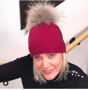 100% Pure Cashmere Hat with Natural Pompom in Berry Red
