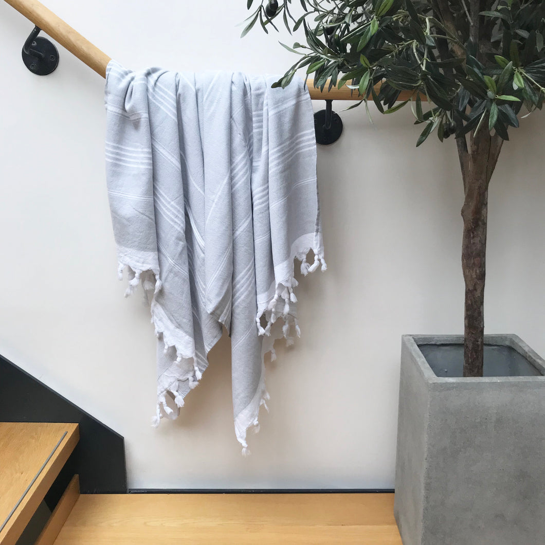Pure Cotton Hammam Towel with Terry Lining in Grey