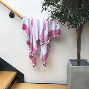 Pure Cotton Hammam Towel with Terry Lining in Pink Stripe