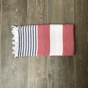 Pure Cotton Hammam Towel with Terry Lining in Red, White & Blue
