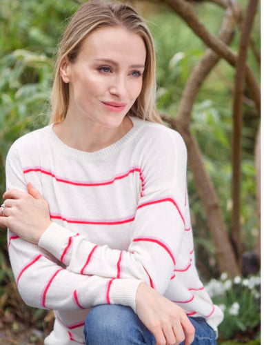 Serena Cashmere Blend Jumper in Ivory/ Red/ Baby Pink