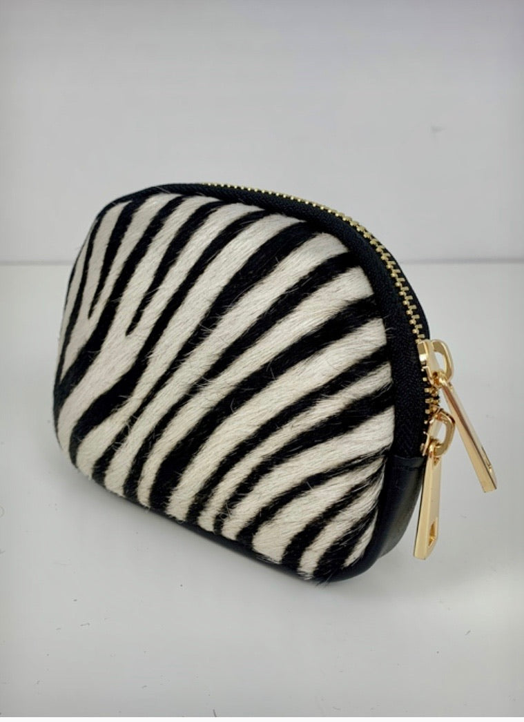 Cowhide Purse in Leather and Zebra Print