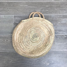 Load image into Gallery viewer, Palm Handle Round Moroccan Basket