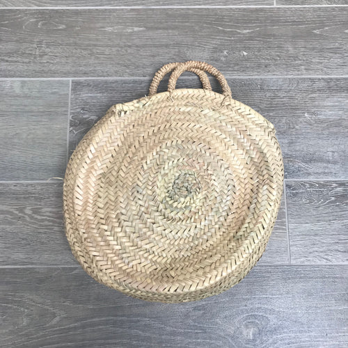 Palm Handle Round Moroccan Basket