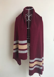 Pure Cashmere Large Stripe Scarf in Wine Red