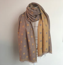 Load image into Gallery viewer, A Beautiful Reversible Cashmere Mix Spotty Scarf in Mink/Mustard