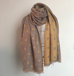 A Beautiful Reversible Cashmere Mix Spotty Scarf in Mink/Mustard