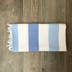 Pure Cotton Hammam Towel with Terry Lining in Blue Stripe