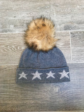 Load image into Gallery viewer, 100% Pure Cashmere Hat with Natural Faux Pom Pom in Grey with Stars