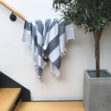 Load image into Gallery viewer, Pure Cotton Hammam Towel with Terry Lining in Charcoal Grey