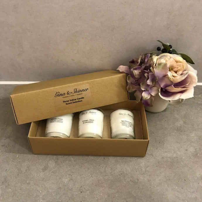 Three Votive Candle Gift Box