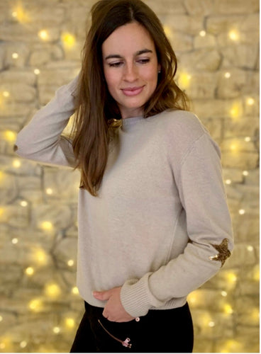 Penny Sequin Cashmere Blend Jumper in Sand/ Gold