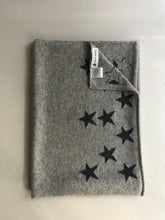 Load image into Gallery viewer, 100% Pure Cashmere Star Scarf in Light Grey with Grey Stars