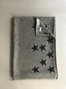 100% Pure Cashmere Star Scarf in Light Grey with Grey Stars