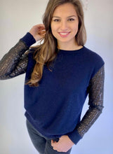 Load image into Gallery viewer, Arabella Sequin Sleeve Cashmere Blend Jumper in Navy/ Black
