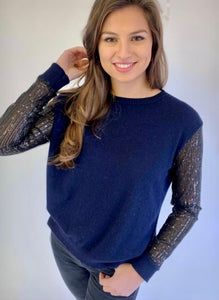 Arabella Sequin Sleeve Cashmere Blend Jumper in Navy/ Black