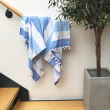 Load image into Gallery viewer, Pure Cotton Hammam Towel with Terry Lining in Blue Stripe